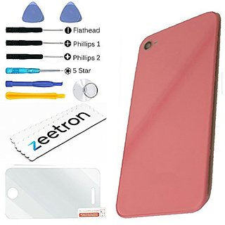Zeetron Back Door Assembly Replacement for iPhone 4S (AT&T Verizon Sprint) - Pink + Tools + Screen Protector + Cloth