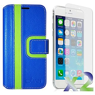 Exian Multifunctional Cell Phone Case for iPhone 6 Plus - Retail Packaging - Blue & Green