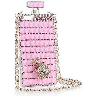 iPhone case, KAMIER Perfume Bottles Cover Phone Case Diamond with Pearl Mobile Phone Chain-Pink,iPhone 6/6s plus
