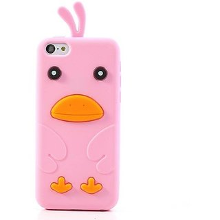 JUJEO Cute Duck Soft Silicone Cover for iPhone 5C - Non-Retail Packaging - Pink