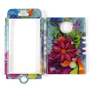 Cell Armor Rocker Snap-On Case for iPhone 5 - Retail Packaging - Tran. Flowers on Light Blue
