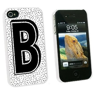 Graphics and More Letter B Initial Sprinkles Black White Snap-On Hard Protective Case for Apple iPhone 4/4S - Non-Retail