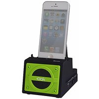 2 Port Smart Phone Charger With Bluetooth Speaker, Speaker Phone, Rechargeable Battery - Retail Packaging - Green Face