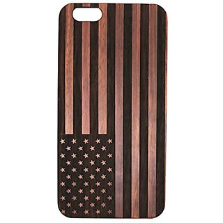 JuBeCo 2016 New Arrivals iPhone 6 Wood Bamboo Case Wood Wooden Bamboo iPhone 6/6s case(4.7inch) (us flag rosewood)