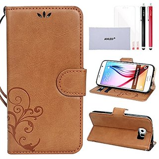 S6 Case,Galaxy S6 Case,S6 Wallet Case,ANLED Premium Vintage Emboss Flower Pattern Wallet Leather Case with Credit Card S