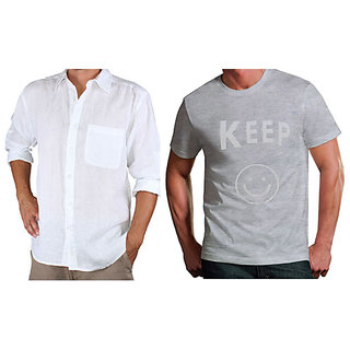 Full Sleeve Linen Shirt & Whats Up Printed Round Neck Tshirt