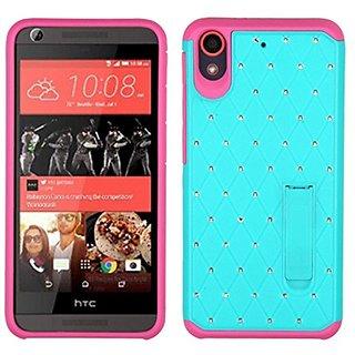 Asmyna Cell Phone Case for HTC Desire 626/626S - Retail Packaging - Green/Pink/Teal