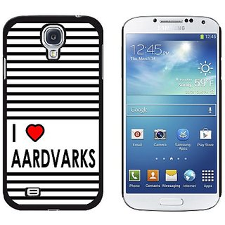 Graphics and More I Love Heart Aardvarks Snap-On Hard Protective Case for Samsung Galaxy S4 - Non-Retail Packaging - Bla