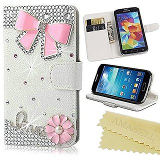 AMASELL LG Leon Bling Crystal Diamond Handmade Folio Wallet Stand PU Leather Case For LG Leon, pink bowknot