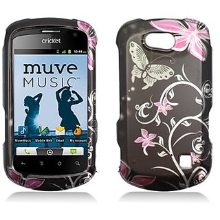 Aimo Wireless ZTEX501PCIMT071 Hard Snap-On Image Case for ZTE Groove X501 - Retail Packaging - Pink/Flowers and Butterfl