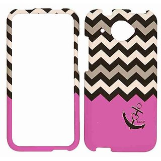 Cell Armor Snap-On Cover for HTC Desire 601 - Retail Packaging - Black Anchor and Black/White Chevron on Pink