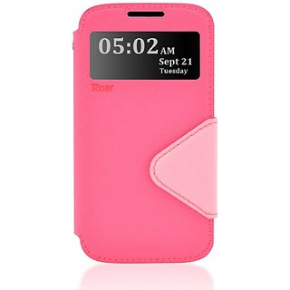 Roar- Super Slim PU Leather/ Diary Wallet View Case for Samsung Galaxy S4 IV I9500, Rosy/Pink