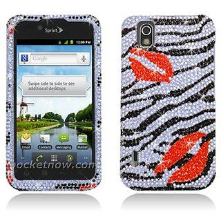 Aimo LGLS855PCLDI650 Dazzling Diamond Bling Case for LG Marquee/Ignite LS855/P970 - Retail Packaging - Zebra Lips