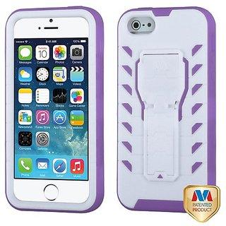 MyBat Apple iPhone 5S/5 TUFF Treadz Hybrid Protector Cover - Retail Packaging - White/Purple