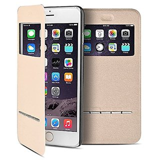 TNP iPhone 6s Plus Case (Champaign Gold) - Slim Fit Synthetic Leather Smart Window View Metal Front Flip Cover Stand Fol