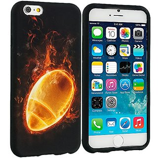 Accessory Planet(TM) Flaming Football TPU Design Soft Rubber Case Cover Accessory for Apple iPhone 6 (4.7)