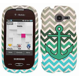 Cell Armor Snap-On Cover for Samsung Gravity Q T289 - Retail Packaging - Green Anchor on Blue/Green Chevron