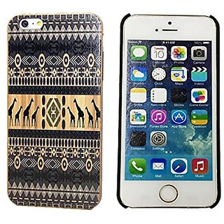 Fashion Case Genuine Bamboo Panel with Giraffe Color Painting Hard Shell Case for iPhone 6 Plus (5.5 Inch Screen) (LSWDP