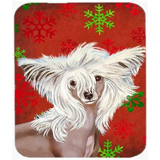 Carolines Treasures Chinese Crested Red and Green Snowflakes Christmas Mouse Pad, Hot Pad/Trivet (LH9347MP)