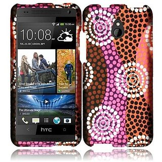 HR Wireless HTC One Mini Rubberized Design Protective Cover - Retail Packaging - Colorful Ethnic Wave