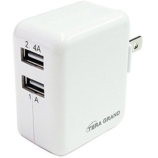 Tera Grand Dual Port USB 3.4A 17W Wall Charger - Retail Packaging - White
