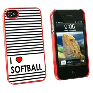 Graphics and More I Love Heart Softball Snap-On Hard Protective Case for Apple iPhone 4/4S - Non-Retail Packaging - Red