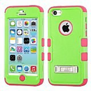 MyBat iPhone 5C TUFF Hybrid Phone Protector Cover with Stand - Retail Packaging - Green/Pink