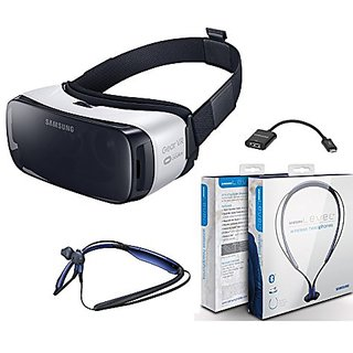 Samsung Gear VR Virtual Reality - 360 2D & 3D with Level U Bluetooth Wireless In-Ear & USB to USB - Retail Packing- For