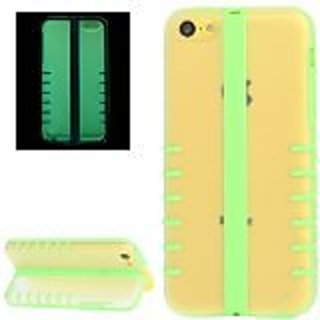 JUJEO Fluorescent Effect Transform Shell Plastic with TPU Case for iPhone 5C - Non-Retail Packaging - Green