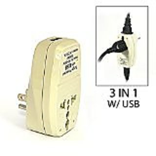OREI 3 in 1 USA Travel Adapter Plug with USB and Surge Protection - Grounded Type B - United States, Japan & More