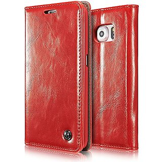 Galaxy S7 Edge Case, BELK Retro Red Vintage Leather Wallet Flip Case Handmade Premium Waxy Folio Cover for Samsung Galax