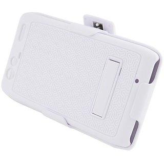 Eagle Cell PAMOTXT913RXXSTHLWH Hybrid Rugged Armor Case for Motorola Droid Razr Maxx XT913 - Retail Packaging - White