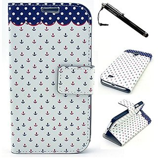 Samsung S4 Case,Galaxy i9500 Case,Micro Anchor Pattern Superior PC Leather Wallet Flip Protective Skin Case with Magneti