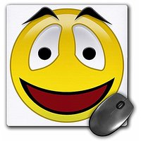 3dRose LLC 8 X 8 X 0.25 Inches Smiley Face 3 A Yellow And Black Happy Face With A Big Smile And Eyebrows Mouse Pad (mp_1