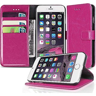 TNP iPhone 6s Plus Wallet Case Hot Pink - Slim Synthetic Leather Wallet Pocket Case Flip Cover Stand with Card Slots and