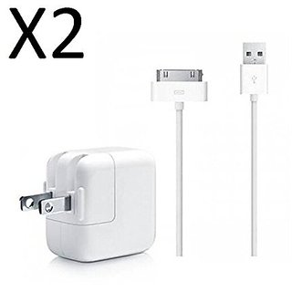 JustJamz USB 30 Pin 3 Foot Power Cord Cable with 10W Wall Charger Fits Apple iPad 1st 2nd 3rd iPhone 3 3G 3GS 4 4S, Whit