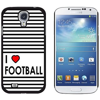 Graphics and More I Love Heart Football Snap-On Hard Protective Case for Samsung Galaxy S4 - Non-Retail Packaging - Blac