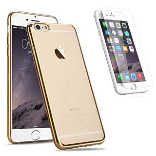 Vanogu iPhone 6/6s Plus Case Plus 2 Count Tempered Glass Screen Protector Full Protection Slim Clear Scratch Proof Case