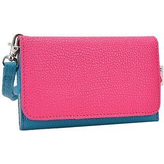 Kroo Clutch Wristlet Wallet for 4-Inch Smartphones - Retail Packaging - Blue and Magenta