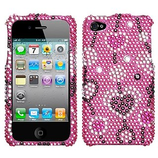 Asmyna IPHONE4HPCDM114NP Luxurious Dazzling Diamante Bling Case for iPhone 4 - 1 Pack - Retail Packaging - Love River