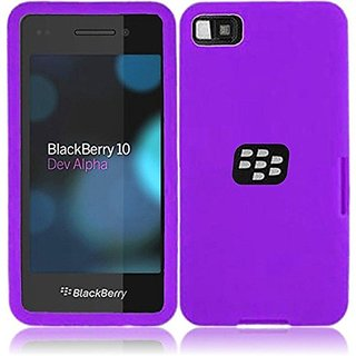 HR Wireless Blackberry Z10 Silicone Skin Cover - Retail Packaging - Dark Purple