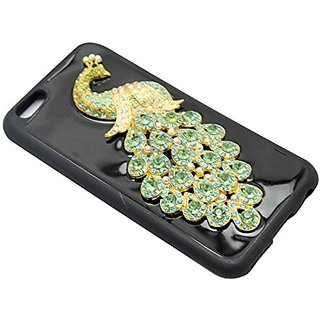 Zizo iPhone 6 TPU Cover with 3D Exclusive Stone and Diamond Laminated - Retail Packaging - Green Peacock