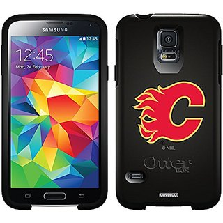 Coveroo Calgary Flames C Design Phone Case for Samsung Galaxy S5 - Retail Packaging - Black