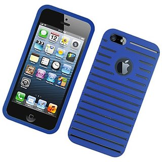 Eagle Cell Rubberized Ribbed Protector Case for iPhone 5/5S - Retail Packaging - Blue