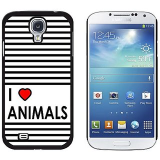 Graphics and More I Love Heart Animals Snap-On Hard Protective Case for Samsung Galaxy S4 - Non-Retail Packaging - Black