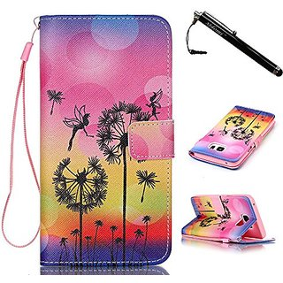 Note 5 Case,Samsung Galaxy Note 5 Case,Elfin and Dandelion Pattern PU Leather Flip Wallet Protective Soft Skin Case Magn