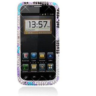 Aimo Wireless ZTEWARPPCDI183 Bling Brilliance Premium Grade Diamond Case for ZTE Warp N860 - Retail Packaging - Blue/Pur
