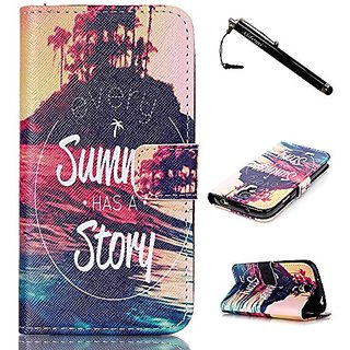 S4 Case,Galaxy S4 Case,Summer Story Top Quality TPU Leather Flip Wallet Protective Soft Skin Case with Magnetic Flap Clo
