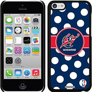 Coveroo Thinshield Snap-On Case for iPhone 5c - Retail Packaging - Black/Washington Wizards Polka Dots Design
