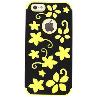Cell Armor I5-NOV-E20-YEG Snap-On Case for iPhone 5 - Retail Packaging - Yellow Flowers on Black